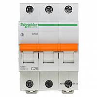 Автоматический выключатель ВА63 3п 25а schneider electric 11225