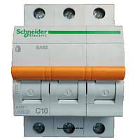 Автоматический выключатель ВА63 3п 10а schneider electric 11222
