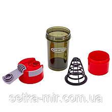 Шейкер 2-х камерный для спортивного питания MUSCLETECH FI-7016 (500+100мл, Tritan, цвета в ассорт)