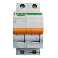 Автомат 2П 6A C Schneider Electric Домовой 11211