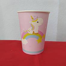 Набор бумажных стаканов принт с единорогом 250мл 5шт