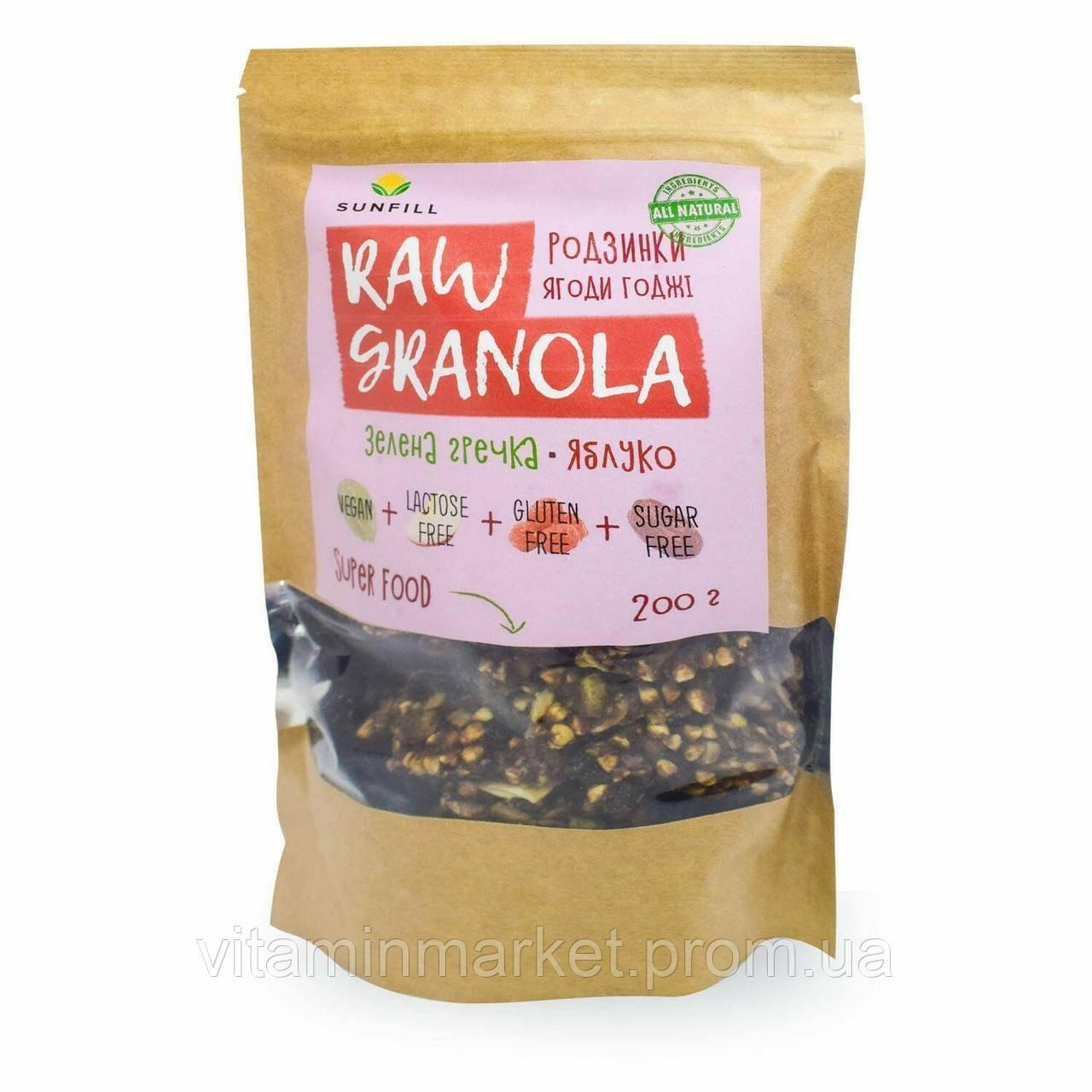 Гранола «RAW GRANOLA», з родзинками і ягодами Годжі, без глютену, «SUNFILL», 200 гр.