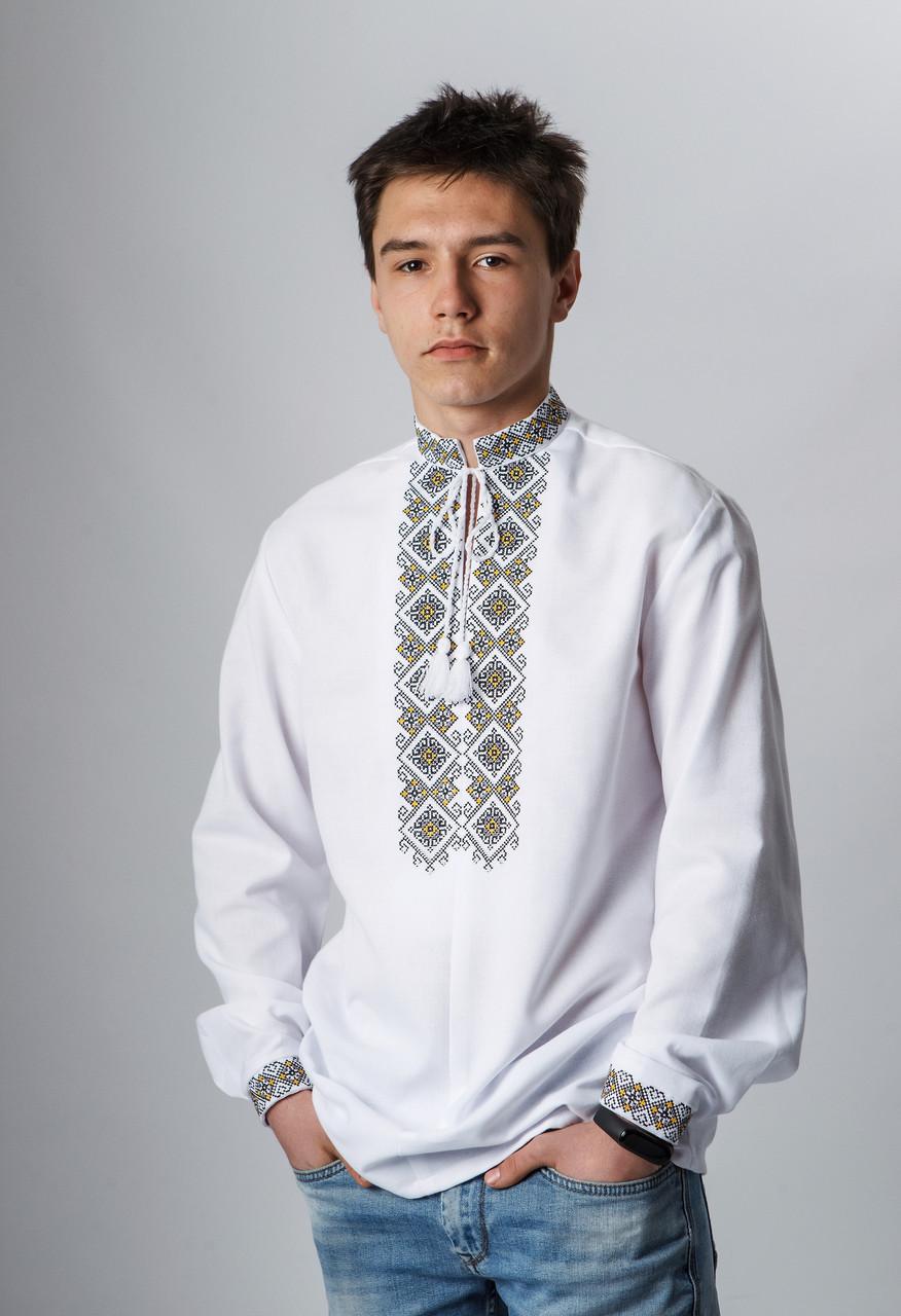 Подростковая вышиванка с серо-черной  вышивкой 152 р