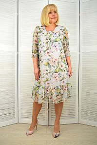 Платье шифон серое в цветочек - Модель 3.230