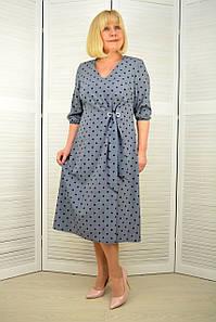 Платье софт серое в синий горошек - Модель 3.231