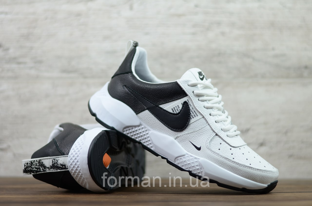 Мужские кожаные кроссовки Nike белые с чёрным