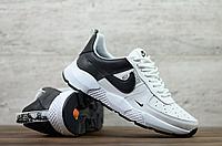 Мужские кожаные кроссовки Nike белые с чёрным, фото 1