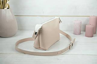 Женская кожаная сумка Лето, натуральная Гладкая кожа, цвет Пудра, фото 3