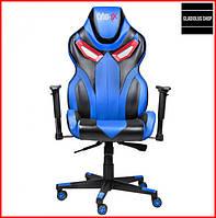 Кресло геймерское Cyber EX (синее) игровое компьютерное кресло профессиональное с подголовником