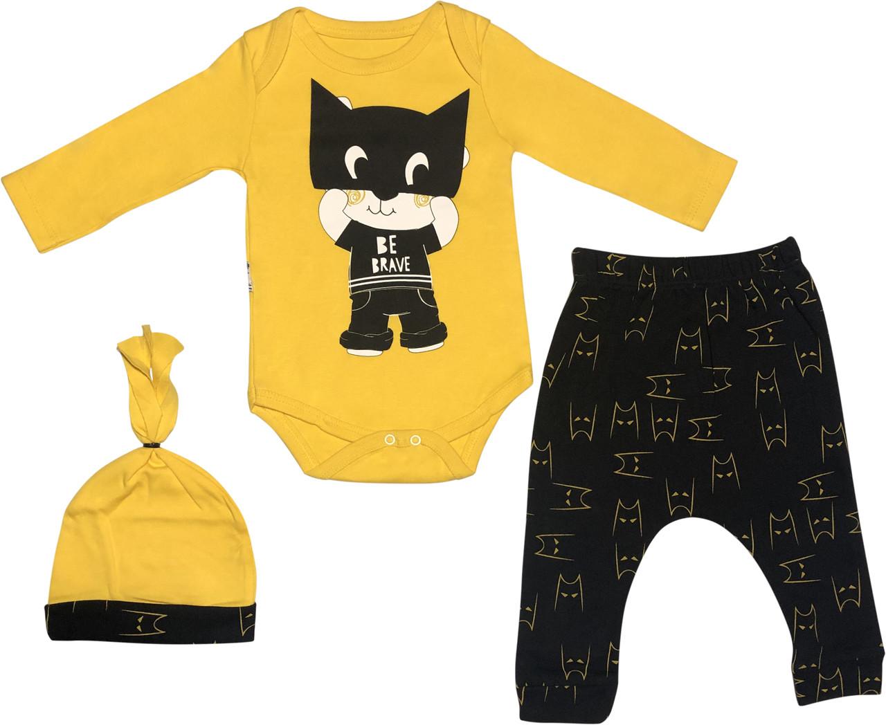 Костюм на мальчика рост 62 2-3 мес для новорожденных малышей комплект детский трикотажный хлопок жёлтый