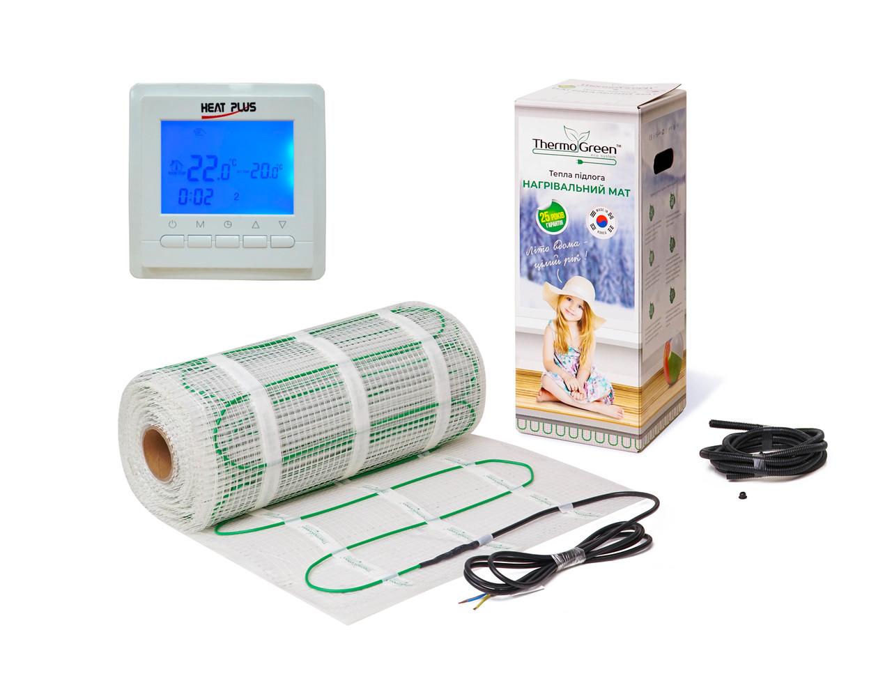 Комплект Кабельний мат ThermoGreen 6м2 + Терморегулятор BHT-306