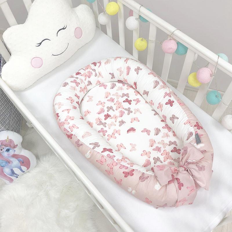 Кокон гнездышко для новорожденных Baby Design Premium Бабочки 90*65 см