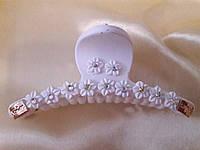 Заколка-краб каучук цветы с камнями