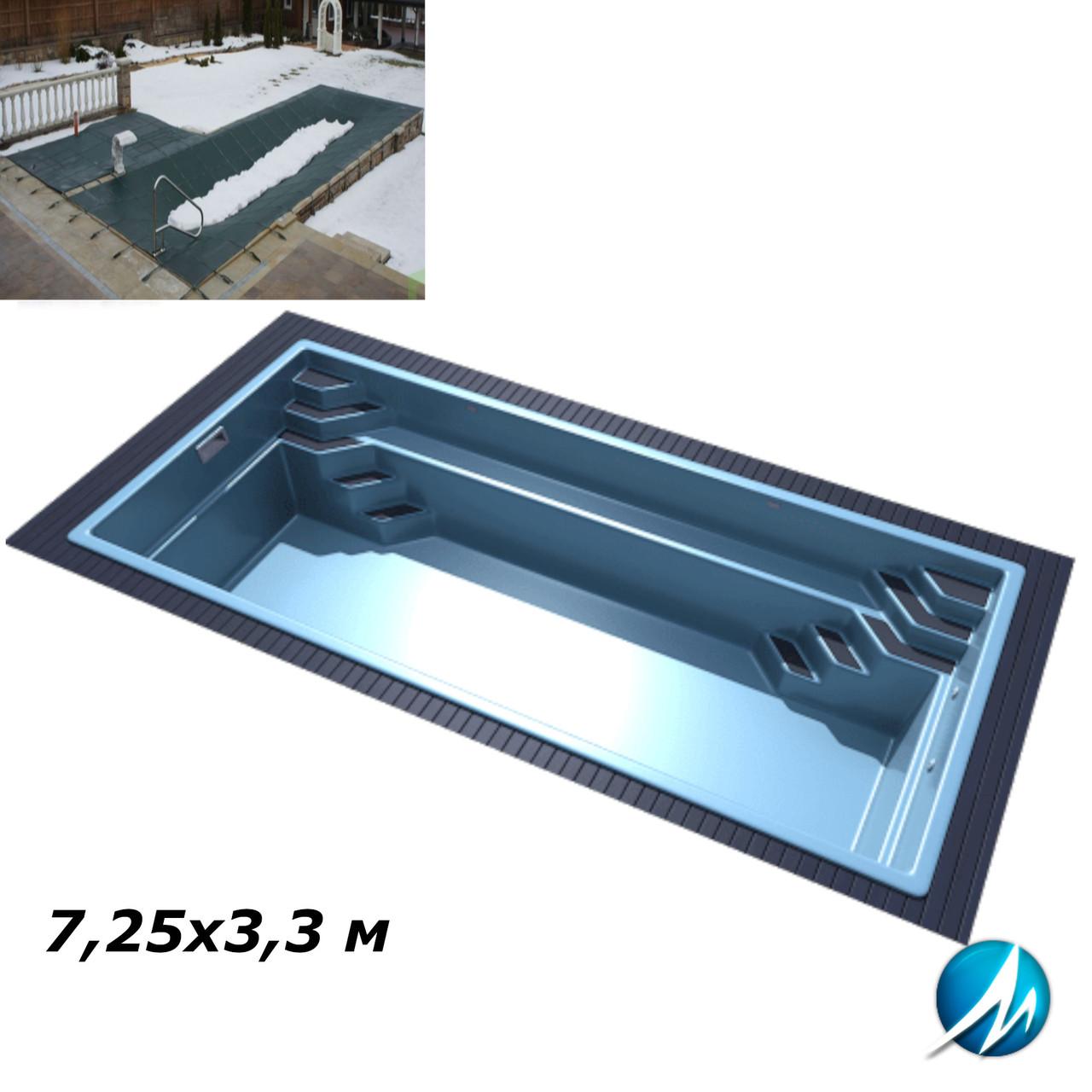 Зимнее накрытие для стекловолоконного бассейна 7,25х3,3 м