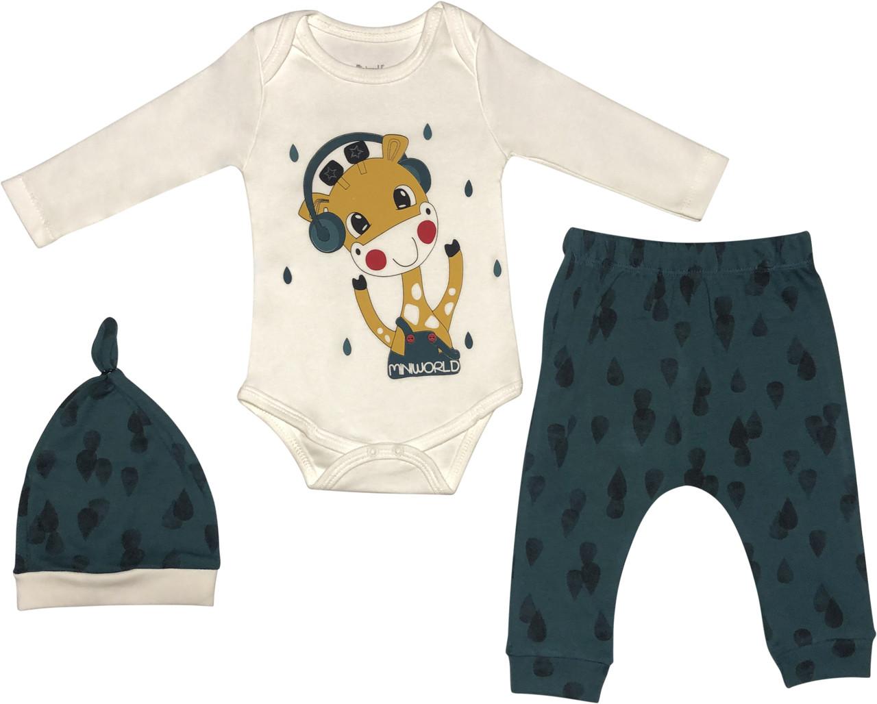 Костюм для новорожденных малышей рост 68 3-6 мес на мальчика девочку комплект детский трикотажный зелёный