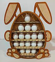 Пасхальная деревянная подставка для яиц из фанеры в форме зайки