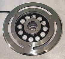 Светильник подводный 12W RGB IP68 для фонтана LUX сталь 304SS + алюминий  на форсунку Ecolend