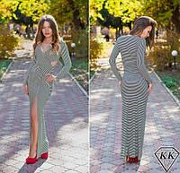 Облегающее  длинное платье в полоску. Арт-3294/23
