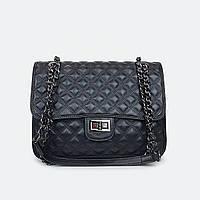Модна жіноча чорна сумочка крос-боді шкіряна 8902