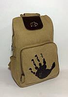 Молодежный рюкзак из натурального холста, модель унисекс, кожаные вставки
