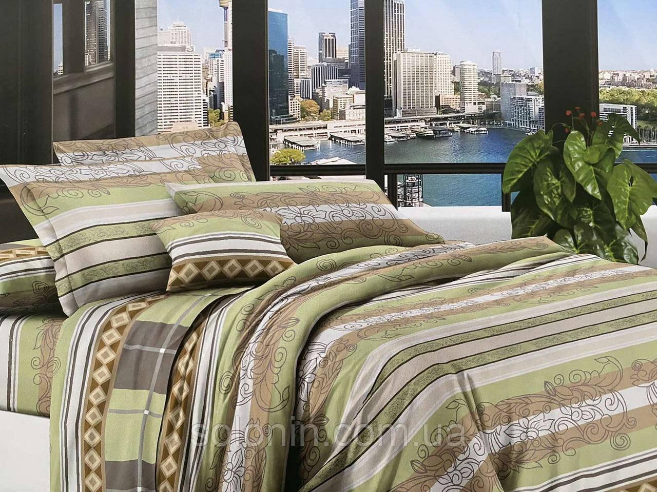 Двуспальное постельное бельё полосатое.
