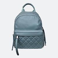 Сумка-рюкзак голубой городской женский кожаный