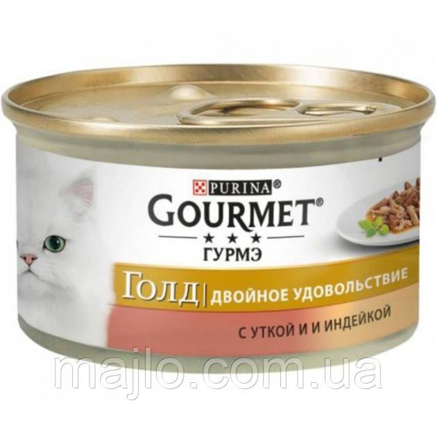 Вологий корм для кішок Purina Gourmet Gold Подвійне задоволення з качкою та індичкою 85 г (7613031381067)