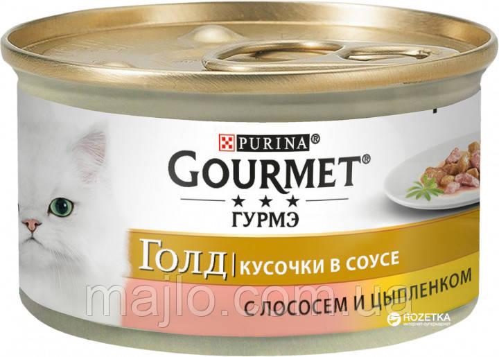 Вологий корм для кішок Purina Gourmet Gold з лососем і куркою, шматочки в підливі 85 г