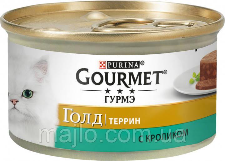 Влажный  корм для кошек Purina Gourmet Gold с кроликом, кусочки в паштете  85 г
