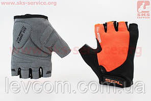 Рукавички без пальців XS чорно-помаранчеві, з гелевими вставками під долоню SBG-1457