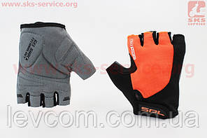 Рукавички без пальців L чорно-помаранчеві, з гелевими вставками під долоню SBG-1457