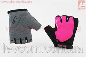 Рукавички без пальців XS чорно-рожеві, з гелевими вставками під долоню SBG-1457