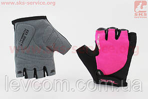 Рукавички без пальців S чорно-рожеві, з гелевими вставками під долоню SBG-1457