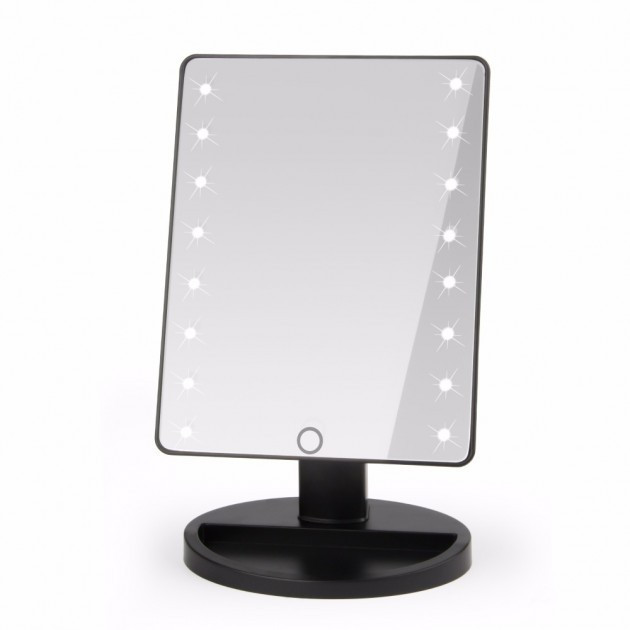 Дзеркало для макіяжу з LED підсвічуванням 22 led, поворотне з підставкою