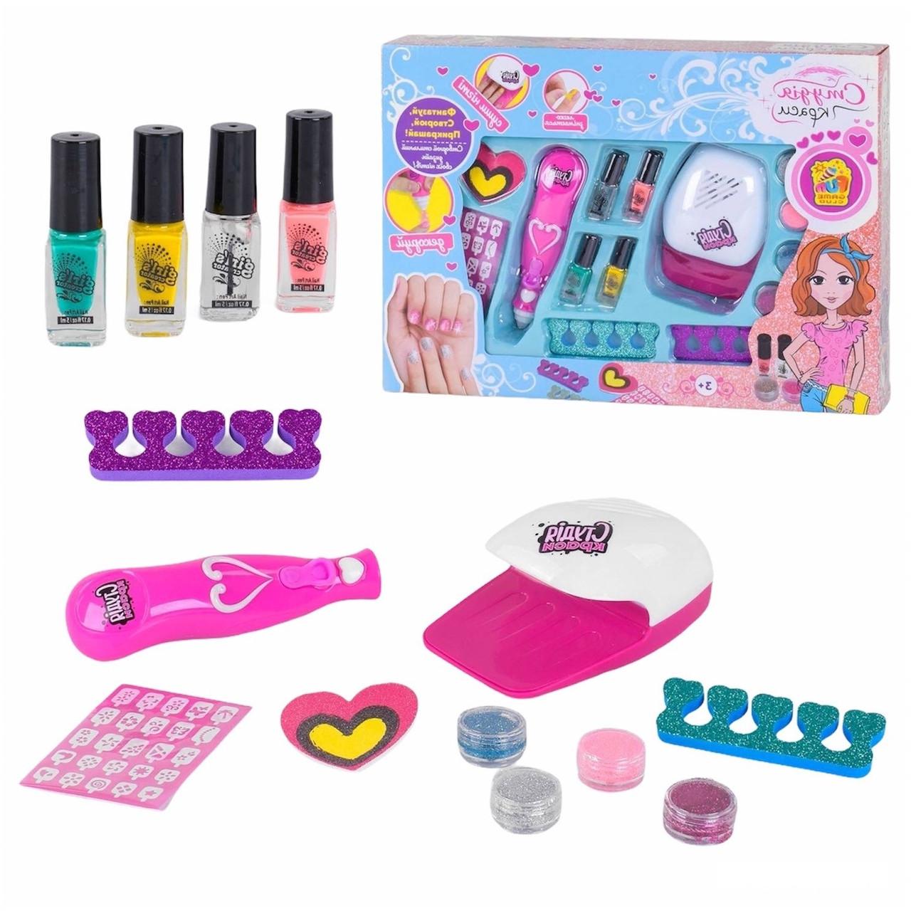 """Гр Набір для манікюру 22930 (12/2) сушка для нігтів на батарейках, розпилювач блискіток, """"Fun Game"""" в коробці"""