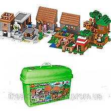 Конструктор майнкрафт Lele 33068 Село і будинок на дереві 1516 деталей