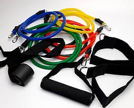 Набор трубчатых эспандеров, ленты для фитнеса, резиновый эспандер, резики для ног спины универсальные 10 в 1