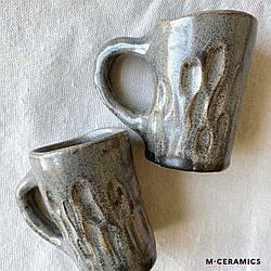 Маленькие парные чашки для кофе ручной работы керамические серые