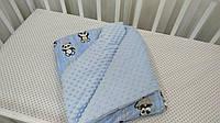 Детское одеяло для новорожденного 75х95 Голубой Конверт-одеяло-конверт малышу Детский плед для новорожденных