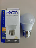 Светодиодная лампа Feron LB-745 G45 230v 6w Е27 2700К белый тёплый свет