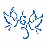 Голуби с сердцем трафарет для пряников 11*14 см (TR-2)