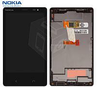 Дисплейный модуль (дисплей + сенсор) для Nokia X2 Dual Sim, с рамкой, черный, оригинал