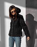 Стильна демісезонна куртка утеплена з оксамитовим напиленням чорного кольору