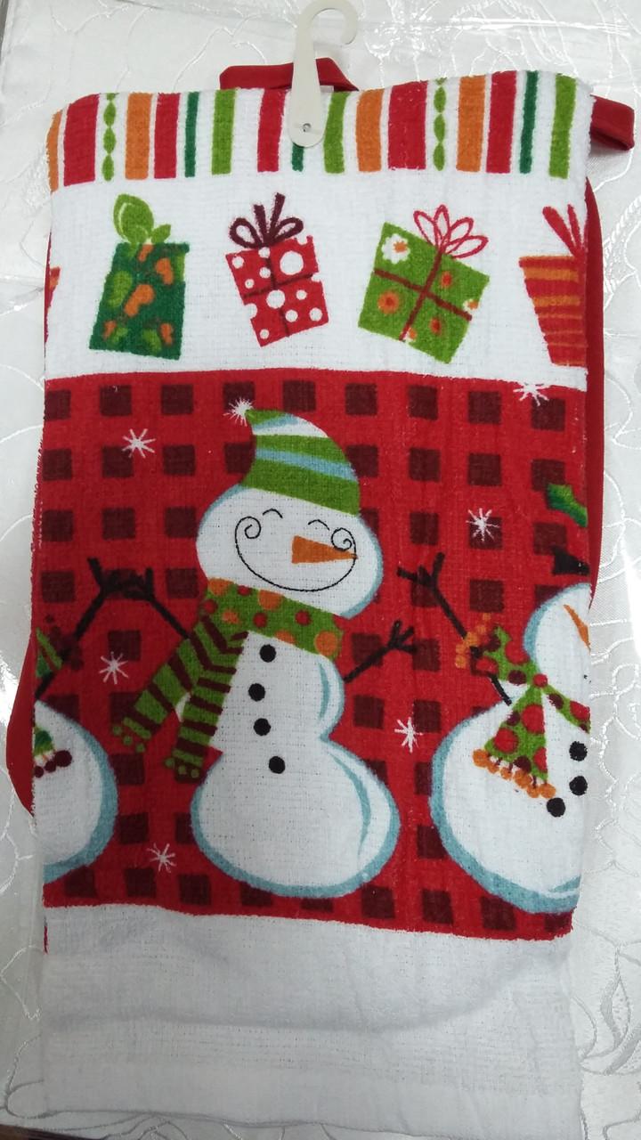 Снеговик. Новогоднее кухонное полотенце