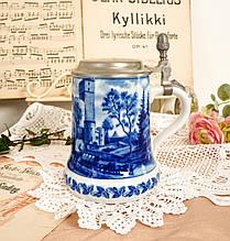 Пивной бокал, немецкая кружка для пива, керамика, оловянная крышка, Германия, Замок Гуттенберг, Berlin Design