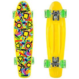 Скейтборд Пенні борд Penny 22in пластиковий зі світящими колесами та малюнком, жовтий