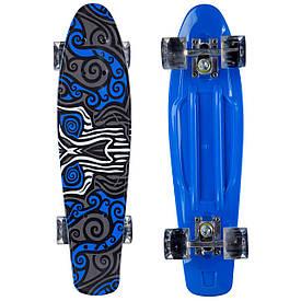Пенні борд для хлопчика з малюнком та світящимися колесами (Penny Board 22), синій