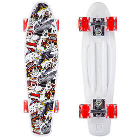 Скейтборд Penny board Пенні борд з принтом та світящимися колесами, білий