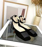 Жіночі замшеві туфлі на підборах 36-40 р чорний, фото 1