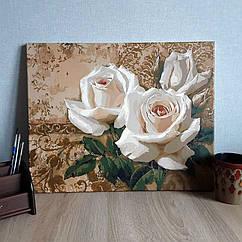 """Разрисованная картина по номерам """"Цветущие белые розы"""" 50х40см"""